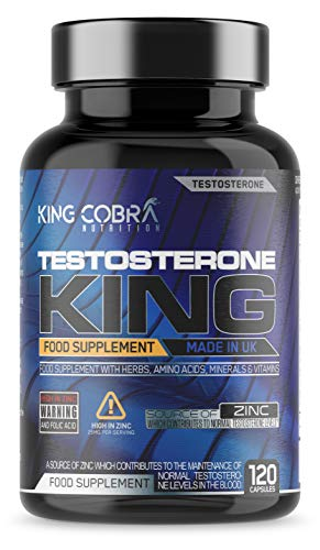 King Cobra Testosterone King - Full 1 Month Course - D-Aspartic Acid and Zinc which contributes to Normal Testosterone Levels - Testosterone Boosters for Men - 120 Capsules