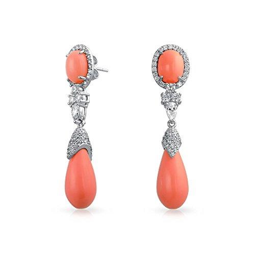 Antiguo Lágrima Naranja Rosa Coral Simulado Redonda Czdeclaración Colgante Pendiente De Latón Chapado En Plata Mujer