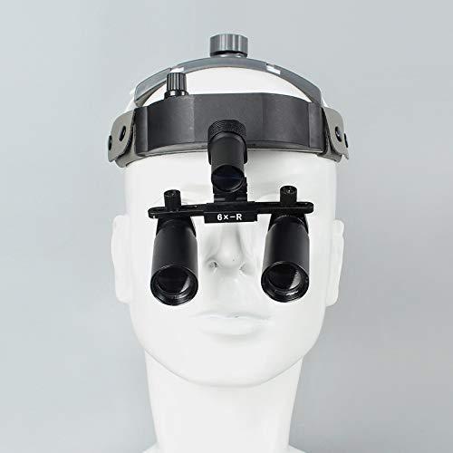 Mnjin Lente de Aumento portátil Espejo Lupa Lupas binoculares quirúrgicas dentales Lupa de Diadema de Cuero 6X con Faro LED Distancia de Trabajo: 420Mm Fauay