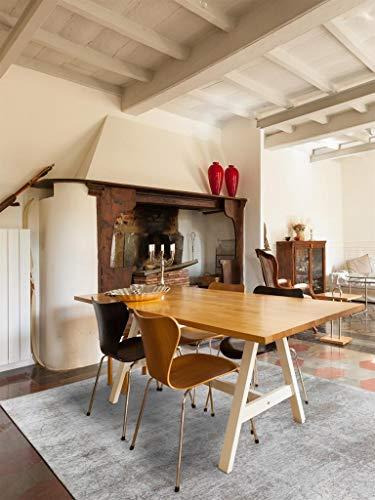 Benuta Flachgewebe Teppich Frencie Baroque Grau 120x180 cm/Pflegeleichter Teppich für Flur und Andere Wohnräume