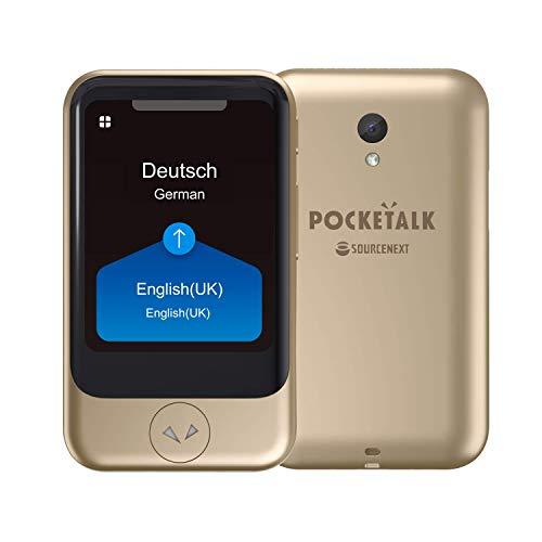 """POCKETALK""""S"""" Traductor de voz/camara Dorado - Dispositivo portátil de traducción bidireccional - Datos moviles incorporados (eSIM)"""