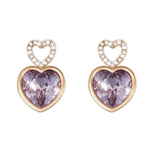 Stroili oorbellen, hartje van rosé metaal en stenen voor dames, snoepje