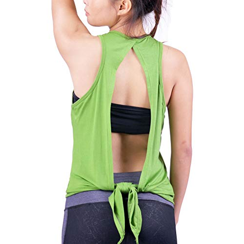 Lofbaz Damen zurück öffnen Yoga Shirt Zurückbinden Oberteile trainieren Kleider schulterfrei Muskelshirt - Lindgrün - L