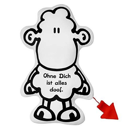 Sheepworld 46495 Plüschkissen Schaf, figürliches Kissen in Schafform, 37 cm x 25 cm, Zierkissen
