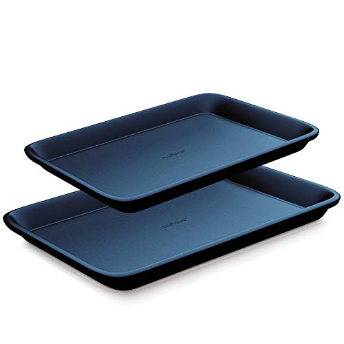 NutriChef Non-Stick Cookie Sheet Baking Pans - 2-Pc. Professional Quality Kitchen Cooking Non-Stick Bake Trays, Blue Diamond, One size (NC2TRBU.5)