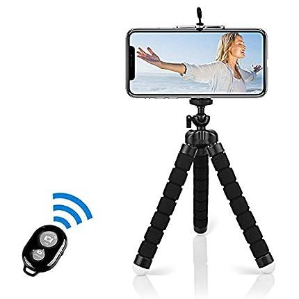 Alfort Mini Trípode, Trípode Móvil Flexible 360°Rotación Teléfonos de Soporte con Control Remoto Portátil Trípode para iPhone 8/8 Plus/Galaxy S7 Edge/Honor P10/Mate 9 Pro y Otros iOS/Android (5.5'')