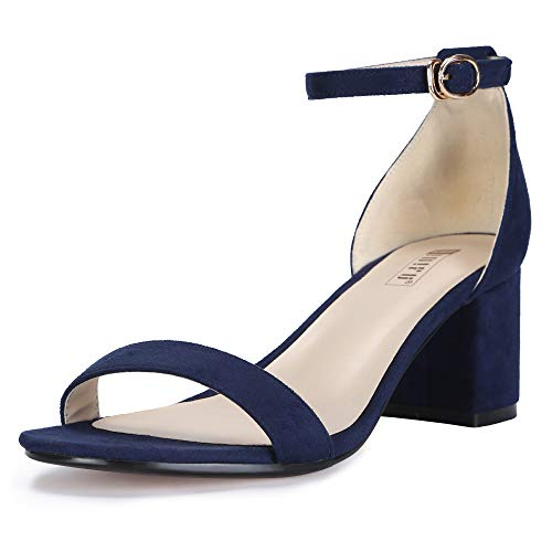 IDIFU Women's Cookie-LO Low Block Heels Chunky Sandals Ankle Strap Wedding Dress Pump Shoes (Blue Suede, 10 B(M) US)
