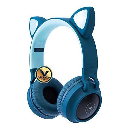 Virtual Zone Audífonos Bluetooth con Diadema Orejas de Gato y Leds (Azul)