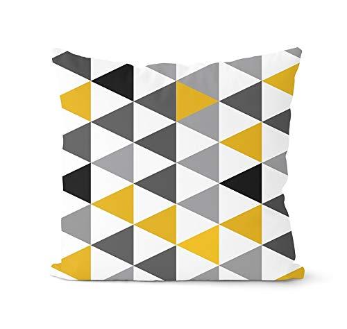PPMP Funda de cojín Amarillo nórdico Funda de Almohada geométrica Abrazo de Ciervo Almohada Decorativa Funda de Almohada para el hogar Funda de cojín A10 45x45cm 1pc