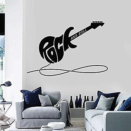 NSRJDSYT Calcomanía de Pared de Guitarra eléctrica Rock and Roll Instrumento Musical Vinilo Pegatinas de Ventana Sala de música Adolescentes niño Dormitorio decoración Interior 74x108cm
