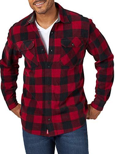Wrangler Langärmliges Fleece-Hemd mit Knopfleiste - Rot - Klein