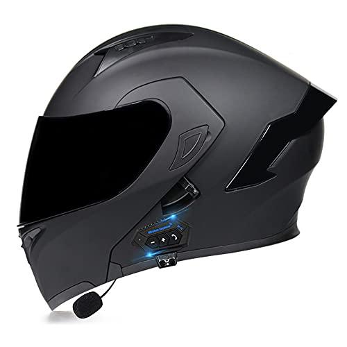 RMBDD Casco de Motocicleta Auriculares Bluetooth Integrados para Casco Abatible Casco Modular Tipo Abatible con Gafas de Walkie Talkie Casco Aprobado por Dot/ECE (55~62cm)