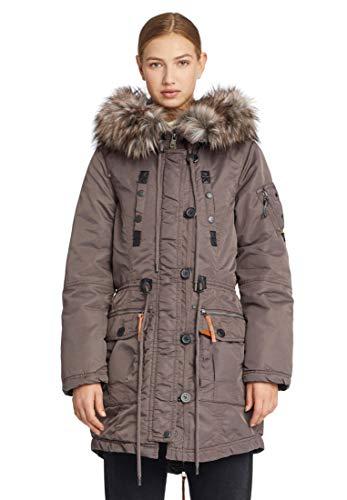 khujo Dhalia Damen Parka Jacke Winterjacke Coat Chaqueta Abrig Wintermantel Mantel (L, Plum (Grau))