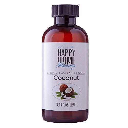 Happy Home Flavoring Imitation Coconut Baking Flavor Emulsion - Certified Kosher, 4 oz.