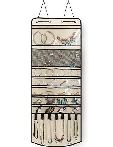 Organizador de joyas para colgar sobre la puerta, 24 bolsillos diferentes con 7 lazos y ganchos para pulsera de pendientes..