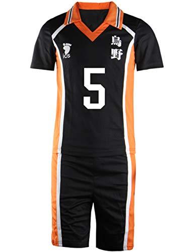 Tinyones Hinata Shoyo Cosplay Costume High School Volleyball Uniform Shirt Shorts Set