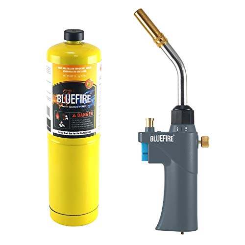 BLUEFIRE BTS-8090 Auto ON/OFF Trigger Start Heavy Duty Gas Welding Torch Head Adjustable Swirl Flame Hand Hold Portable Fuel by MAPP/MAP Pro/Propane 1lb Bottle Tank (Torch Kit with MAPP Cylinder)