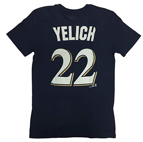 Milwaukee Brewers Adult Men's Christian Yelich #22 Player Name and Number Crew Neck Jersey T-Shirt (Medium)