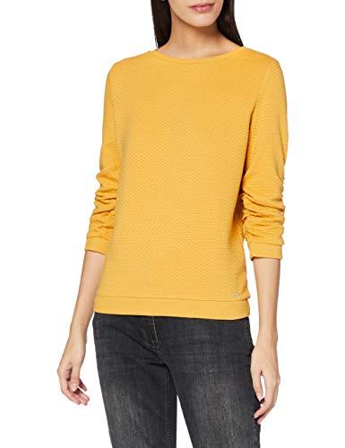 TOM TAILOR Denim Damen Struktur Sweatshirt, 10410-Indian Spice Yellow, S