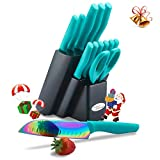 DISHWASHER SAFE Rainbow Titanium Cutlery Knife Set, Marco Almond KYA27 Kitchen Knives Set with Wooden Block, Rainbow Titanium Coating,Chef Quality for Home & Pro Use, Best Gift,14 Piece Turquoise
