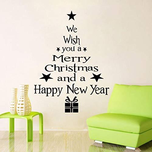 Ogquaton Pegatina para ventana, letras del árbol de Navidad, vinilo extraíble, 3D, color negro, calidad premium