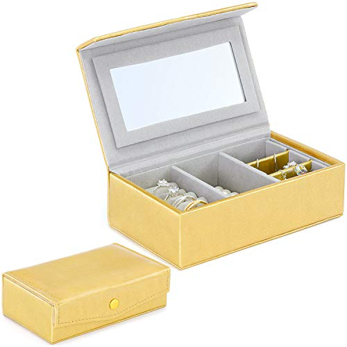 ranslen Mini Travel Jewelry Box Organizer with Mirror Portable Compact Gold Jewelry Boxes Case, Small Jewelry Boxes Storage Case for Women, Girls