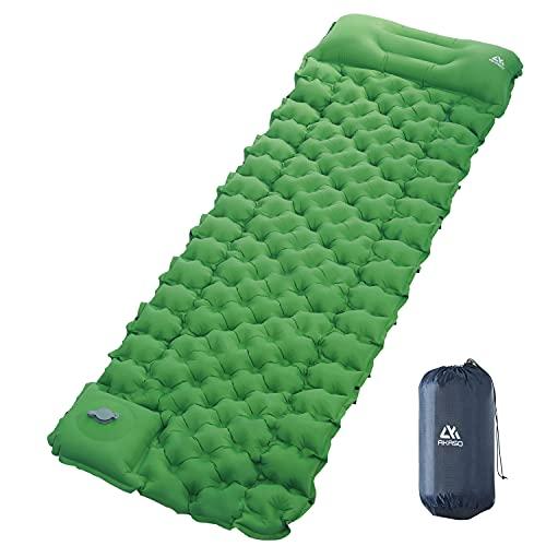 AKASO エアーマット 足踏み式 キャンプマット アウトドア マット 防災用品 折り畳み式 枕付き無限連結可能 エアーベッド 軽量 コンパクト 防水防潮