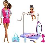 Barbie Métiers Coffret poupée coach de gymnastique brune et son élève, avec barre et accessoires, jouet pour enfant, FJB34