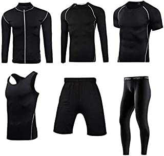 Mens Sports Fitness Clothing 5-Piece Men's Fitness Suit with Pants, Long-Sleeved Shirt, Shorts, Vest, Jacket and Short Sle...
