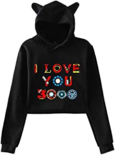 New style The Avengers I Love You 3000 times printing cat ears Women girl Hip Hop hoodie Long Sleeve pullover hoodie crop top sexy top