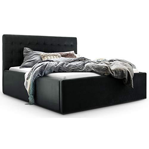 Bett mit Bettkasten Samt Molly XXL-Stauraum Polsterbett Designer Doppelbett Lattenrost massiv (Anthrazit, 140 x 200 cm)