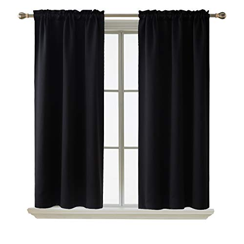 Deconovo Room Darkening Curtain Thermal Insulated Blackout Curtains for Kids Room Black 38 x 63 Inch 2 Panels