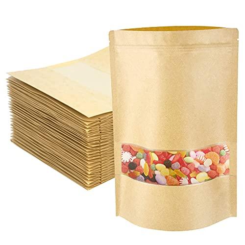 MoonSing Braune Papier Beutel mit Fenster, 50 Stück Kraftpapier Tüten Zipper Pouches, Wiederverwendbar Brown Papietütchen für Die Verpackung von Kaffee, Nüsse, Tee Lebensmittel (12x20cm)