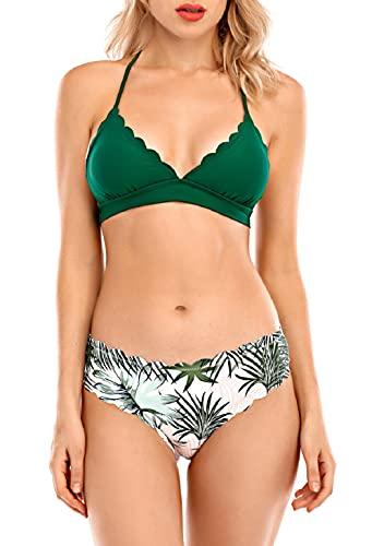 CMTOP Bikini Mujer Conjuntos Sexy Tanga Mujer Playa Ropa de Baño Traje de Baño Bañador Tops y Braguitas Verano Traje de Baño Conjunto Bañador Halter (Verde, S)