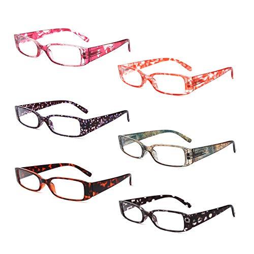 BOSAIL 6er-Pack Lesebrille Blaulichtfilter Brille für Damen ,Blumen Rechteckig,Federscharnier Lesehilfe Sehhilfe Brille mit Stärke 2.0