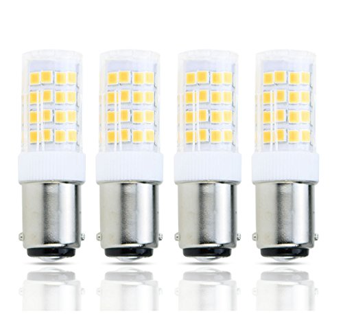 Lamsky LED BA15D Double Contact Bayonet Base 120 Volts 4W Led Light Bulb,T3/T4/C7/S6,Warm White 2700K,LED 40W Halogen Replacement Bulb,No-Dimmable(4-Pack)