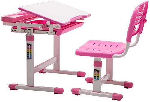 mecor Bureau Ergonomique -Pupitre et Chaise Roses ergonomiques pour Enfants - favorisant Une Bonne Posture et protégeant la Vue