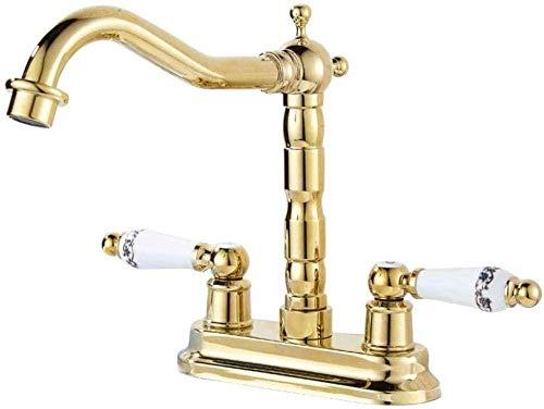 kraan gouden messing wastafel badkamer gouden afwerking dubbele gat wastafel met keramische handlewashing machine keuken