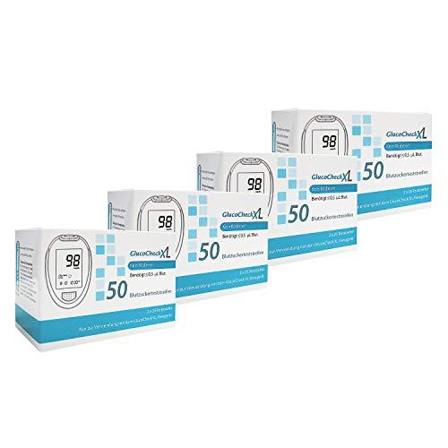 GlucoCheck XL - 200 Blutzuckerteststreifen zur Kontrolle des Blutzucker-Wertes - Anwendbar mit dem GlucoCheck XL Blutzuckermessgerät