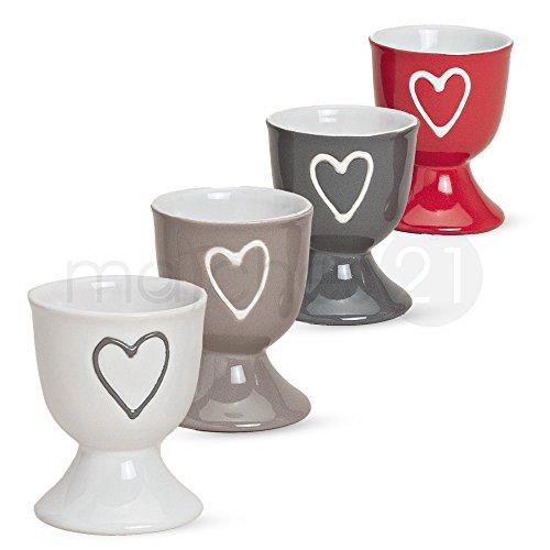 matches21 Bunte Eierbecher im 4er Set mit Herzdekor in grau rot weiß beige aus Keramik je 6x5 cm - 4-fach sortiert
