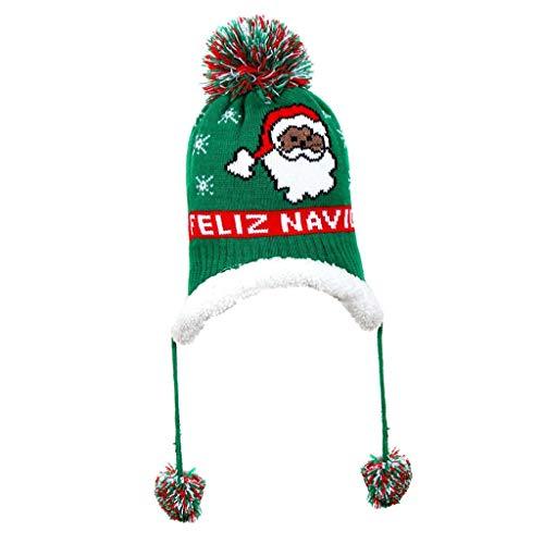 #N/a Niño bebé sombrero de invierno cálido térmico Xams cálido de punto gorra de ganchillo Beanie Ski presente para 1 a 6 aÑOS NIÑOS - Verde Santa