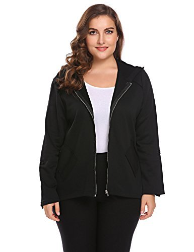 Involand Womens Plus Size Zip Up Long Sleeve Casual Fleece Hoodie Jacket