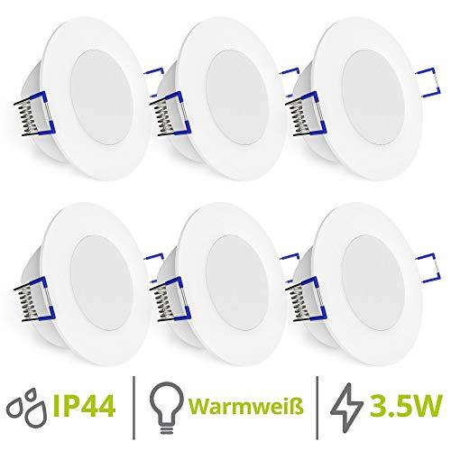 linovum WEEVO 6er Set IP44 Einbaustrahler LED 230V rund - runde Deckenspots warmweiß 3,5W Bad & Außen - flacher Einbau 29 mm