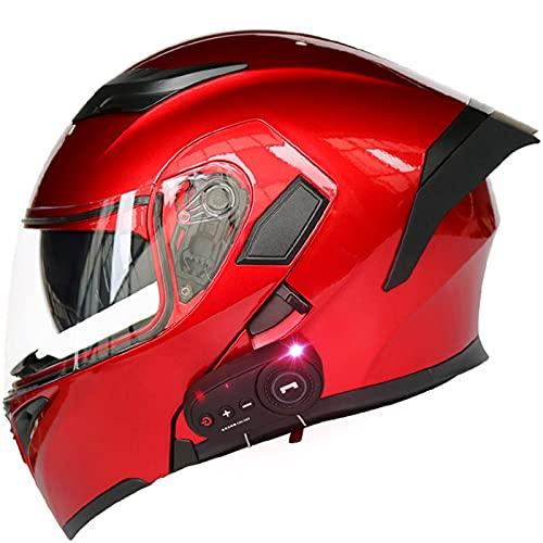 Cascos Modulares de Motocicleta Bluetooth Dot Certificación Ece Abatibles Integrados con Bluetooth Casco Frontal Abatible de Cara...