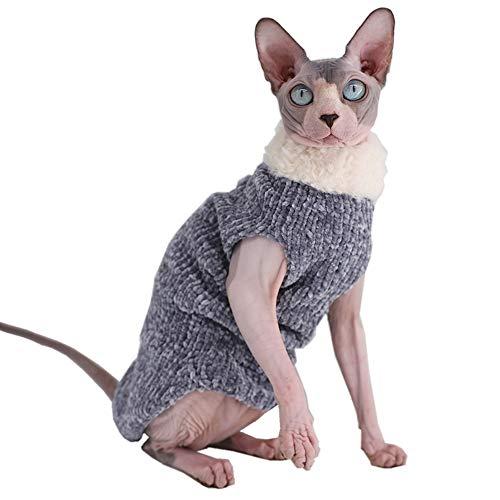 Sphynx Katzenbekleidung, Winter, warm, Kunstfell-Pullover, Outfit, modischer hoher Kragen, Mantel für Katzen und kleine Hunde, Kleidung, haarlose Katzen-Shirts, Pullover (S (1,5-2 kg), blau-grau)