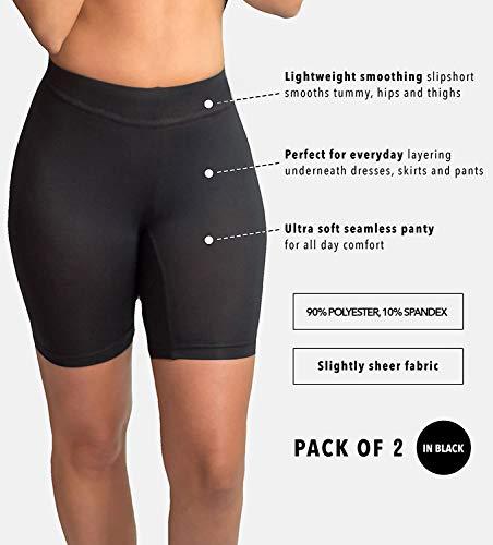 Emprella Bike Shorts Women, 2-Pack Spandex Biker Short for Yoga Gym Biking or Slip Shorts Black