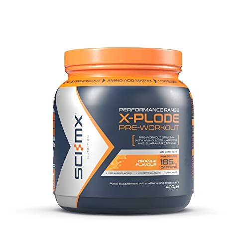 SCI-MX Nutrition X-Plode Pre-Workout Supplement Drink, Caffeine Based, 400 g, Orange, 20 Servings