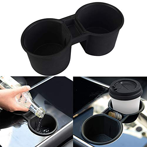 Soporte de silicona para monedas y botellas de agua Tesla Model 3 Model Y de Topfit (negro)