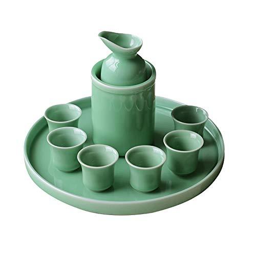 Conjunto de vinos de cerámica de 8 piezas, material de cerámica, material cerámico, 6 hojas, 1 taza de vino caliente, conjunto de cerámica de sake duradero