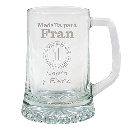 Regalo para Padres Personalizable: Jarra de Cerveza grabada con su Nombre, el...